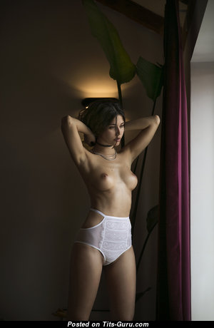 Ana Sotillo Navarro - Sexy Topless Brunette Babe with Sexy Open Miniature Tittes, Large Nipples, Sexy Legs in Lingerie (Porn Wallpaper)