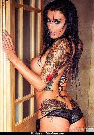 Gorgeous Dame with Gorgeous Naked Round Fake Mega Knockers & Tattoo (Sexual Foto)