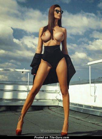 Bilyana Evgenieva - Beautiful Bulgarian Playboy Brunette with Beautiful Open Silicone Regular Tit (Sex Photo)