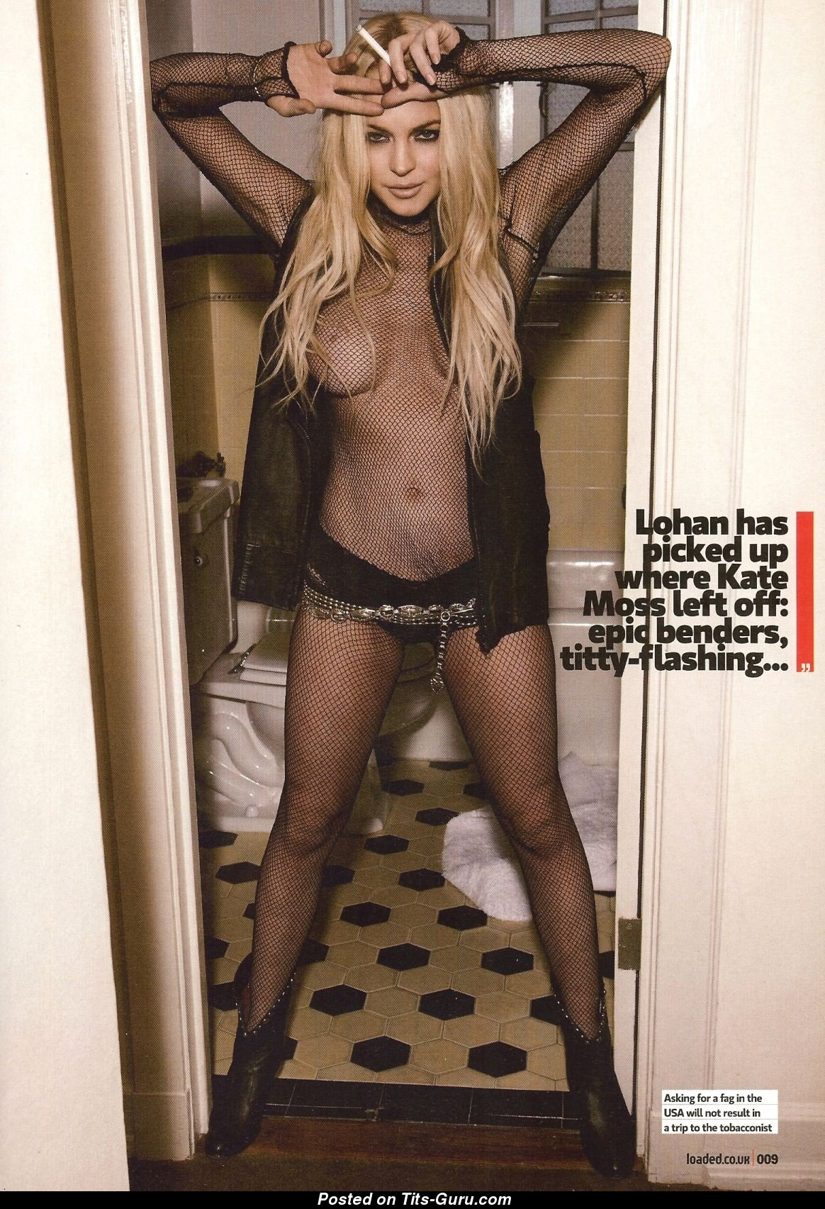 Lindsay Lohan & Appealing Topless American Playboy Red Hair & Blonde Singer  & Actress with Appealing Nude Natural Medium Sized Titty & Red Nipples ( Amateur ...