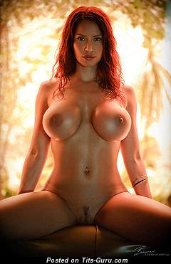 Bianca Beauchamp - Elegant Canadian Red Hair Babe with Elegant Open Round Fake Full Boob (Sexual Image)