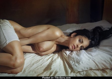 Superb Glamour & Topless Brunette with Superb Nude Natural Tight Breasts & Erect Nipples (Xxx Photoshoot)