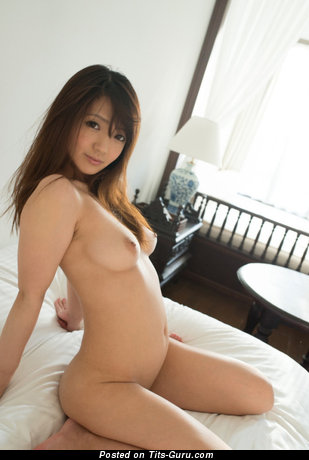 Aoyama Hana - Cute Topless Asian Babe with Cute Bald Natural C Size Knockers (Porn Image)