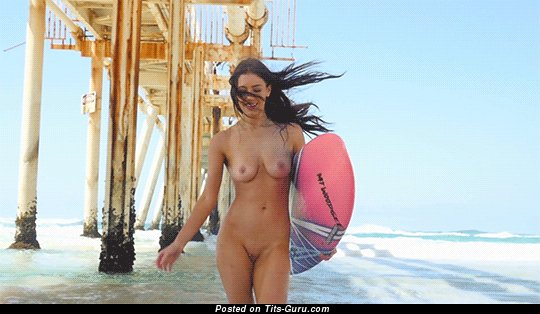 Image. Naked brunette with small natural boobies gif