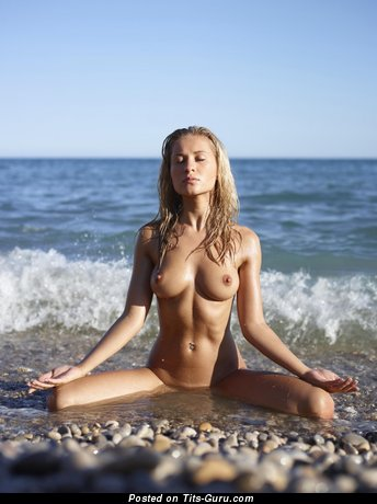 Superb Skirt with Superb Nude Normal Melons on the Beach (Sexual Wallpaper)