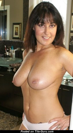 Fascinating Topless Brunette Wife, Mom & Babe with Fascinating Nude Natural Normal Busts & Enormous Nipples (Private Hd Xxx Pic)