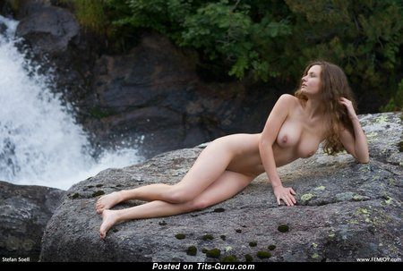 Image. Nude brunette with big natural boobs image