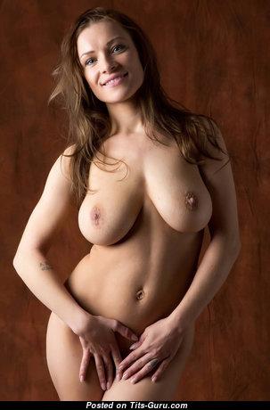 Nadine J - Splendid Girlfriend & Babe with Splendid Bald Real C Size Boob (Hd Porn Image)