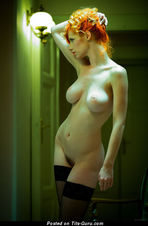 Adorable Topless Red Hair Babe with Adorable Exposed Real C Size Knockers & Large Nipples (Hd Porn Picture)