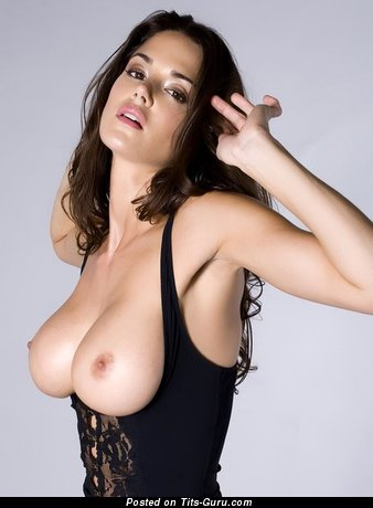 Topless brunette with big natural tits picture