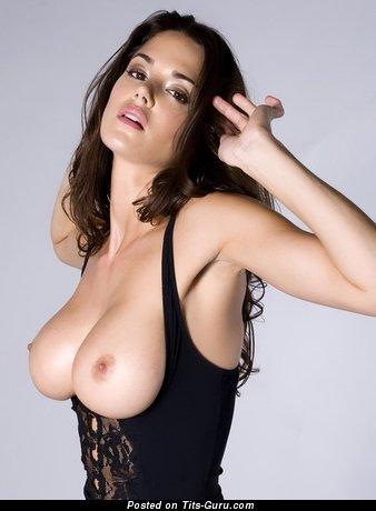 Adorable Topless Brunette with Adorable Bare Mega Tits (Sex Pix)