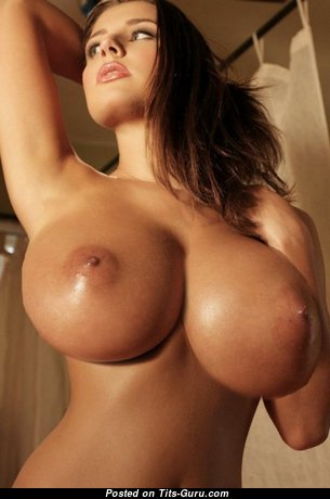 Perfect Brunette Nurse & Babe with Perfect Naked Silicone Big Sized Titties (Sexual Foto)