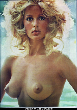 Nina Carter - Hot Topless British Blonde with Hot Bare Natural Medium Jugs (Vintage Porn Photo)