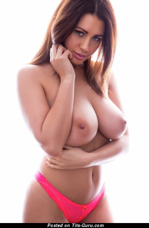 Sexy topless brunette with medium natural boobs and big nipples photo