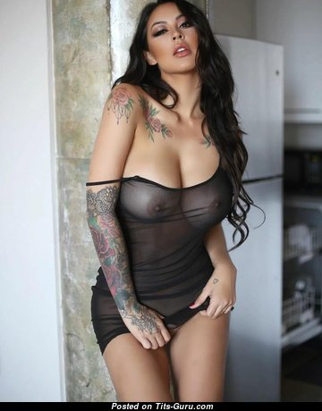 Melissa Grace - Delightful Glamour & Non-Nude Brunette Babe with Delightful Natural Normal Boobies, Large Nipples, Tattoo in Lingerie (Hd Porn Photo)
