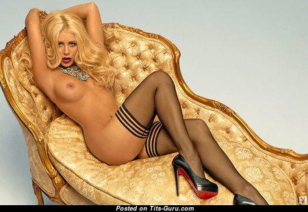 Aubrey O'Day - Pretty American Playboy Blonde Babe & Singer with Pretty Bare Medium Sized Hooters in Stockings (Hd Sex Foto)