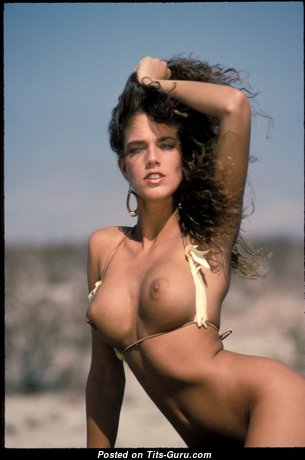 Kelly Jackson Aka Racheal Darrin - Charming Topless Playboy Brunette Pornstar, Babe & Actress with Charming Defenseless C Size Busts on the Beach (Sexual Photoshoot)