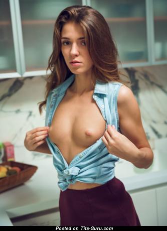 Splendid Brunette Babe & Babysitter with Splendid Nude Natural Small Jugs (Hd Sexual Wallpaper)