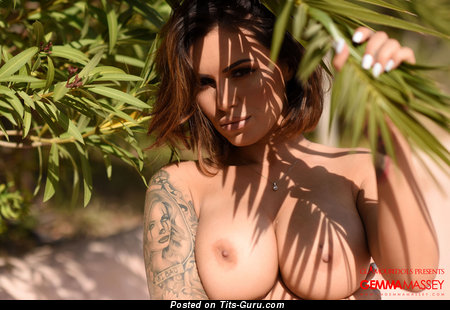 Image. Gemma Massey - nude brunette with big natural tittes and tattoo picture