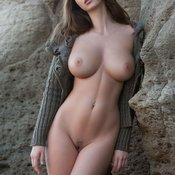 Brunette with big natural boob picture