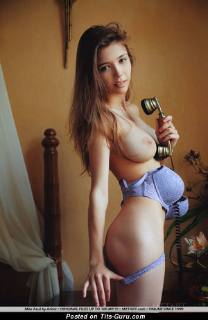 Mila Azul - Pleasing Topless Ukrainian Babe with Pleasing Defenseless Natural Average Chest (Sexual Image)