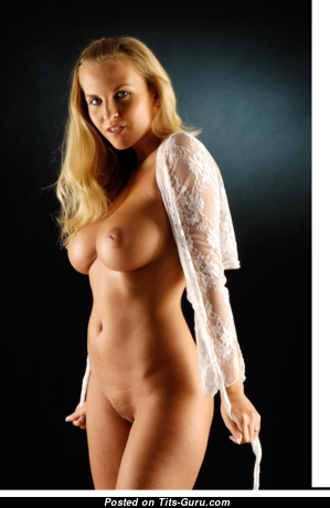 Chikita (marketa Pechová) - Gorgeous Glamour & Topless Blonde with Gorgeous Nude Medium Melons, Huge Nipples, Tan Lines in Lingerie is Undressing (18+ Photo)