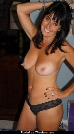Sexy Topless Brunette Wife, Mom, Housewife & Babe with Sexy Nude Real Normal Boob, Weird Nipples, Tattoo in Panties (Home Hd Sexual Pic)