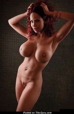 Naked red hair with huge fake tittes photo