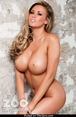 Image. Naked blonde with big fake tits image