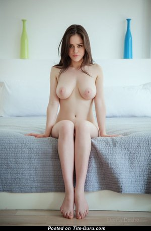 Naked awesome girl with big natural boob photo