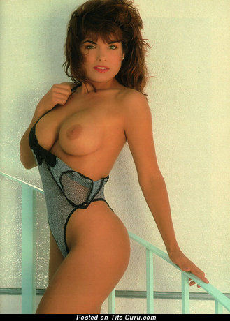 Brandi Downs - Handsome Playboy Brunette Babe with Handsome Exposed Natural Firm Knockers (Vintage 18+ Picture)