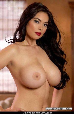 Tera Patrick - Elegant American Brunette with Elegant Bald Tight Breasts (Porn Image)