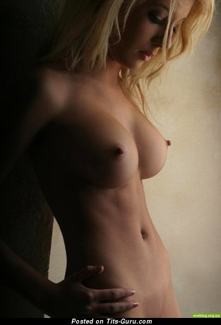 Nude blonde with medium boobies picture