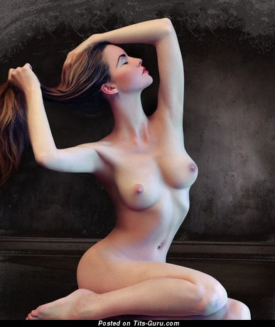 Image. Naked amazing female with medium natural breast photo