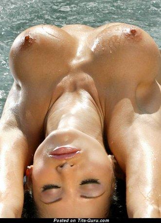 Wonderful Wet Brunette with Wonderful Open Round Fake C Size Titties (Sex Picture)
