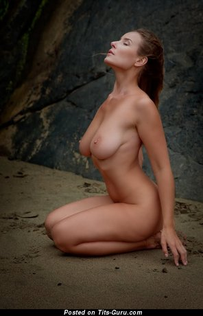 Vassanta - Amazing Russian Red Hair Babe with Amazing Bare Natural Soft Melons on the Beach (Xxx Pic)