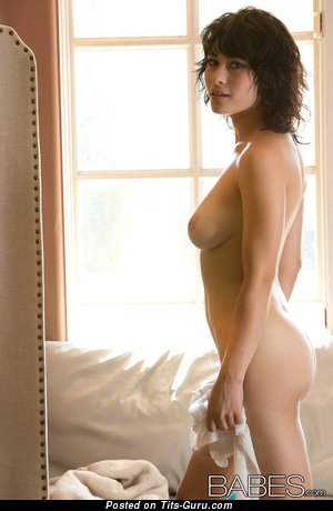 Image. Nude brunette with natural boob picture
