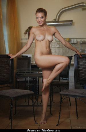 Image. Nude beautiful girl with medium natural breast image