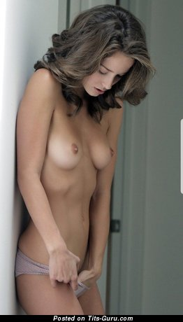 Stunning Topless Brunette Babe with Stunning Nude Real Little Knockers & Huge Nipples in Panties (Hd Porn Pic)