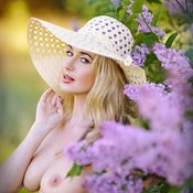 Blonde with big natural breast image