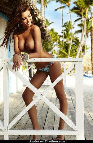Monika Pietrasinska - topless brunette with medium natural tots pic