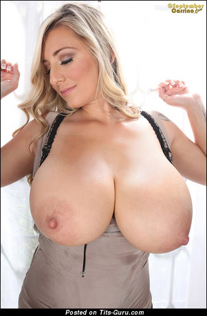 September Carrino - Amazing Topless American Blonde Babe with Amazing Bald Huge Tots, Giant Nipples, Piercing (Sexual Picture)