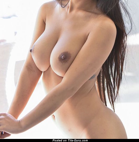 Nude brunette with medium natural tots image