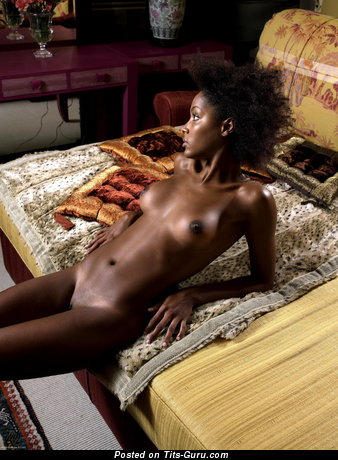 Image. Nude ebony with medium natural tits image