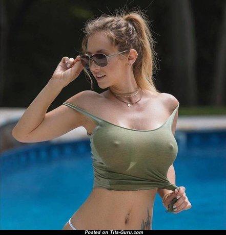 Yummy Non-Nude & Wet Blonde Babe with Yummy Regular Jugs in Bikini in the Pool (Xxx Photo)