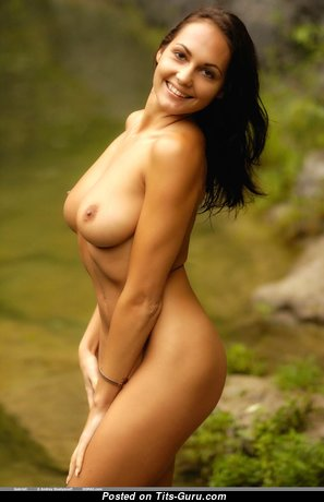 Gabriell - Good-Looking Glamour & Topless Brunette with Good-Looking Open Natural Dd Size Chest, Long Nipples, Tan Lines (Hd Sexual Wallpaper)