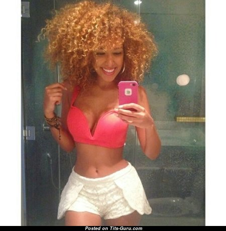 Aisha Thalia - Lovely Non-Nude Trinidadian, American Red Hair Babe with Hot Fake Busts in Shorts & Lingerie (Selfie Sex Foto)
