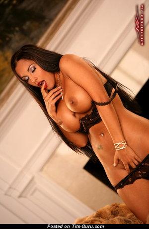 Image. Nina Mercedez - nude latina brunette with big fake boob photo