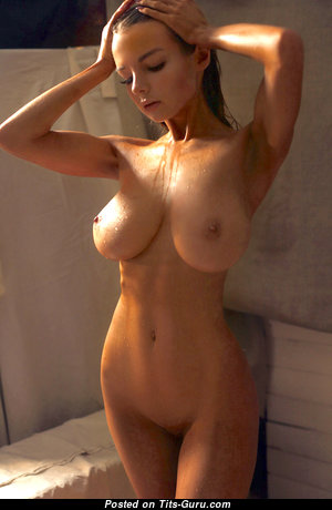Vera Gudkova - Exquisite Topless, Glamour & Wet Brunette with Giant Nipples in the Shower (Hd 18+ Picture)