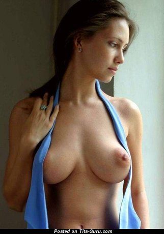 Grand Brunette with Grand Open Natural C Size Boobies & Red Nipples (Sexual Photo)